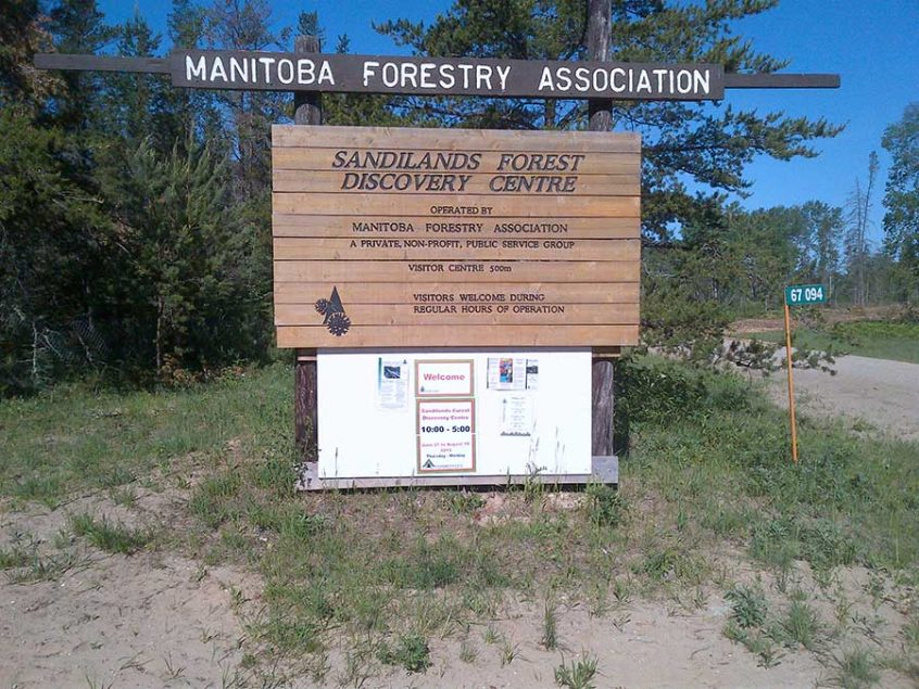 Sandiland Forest Discovery Centre Sign